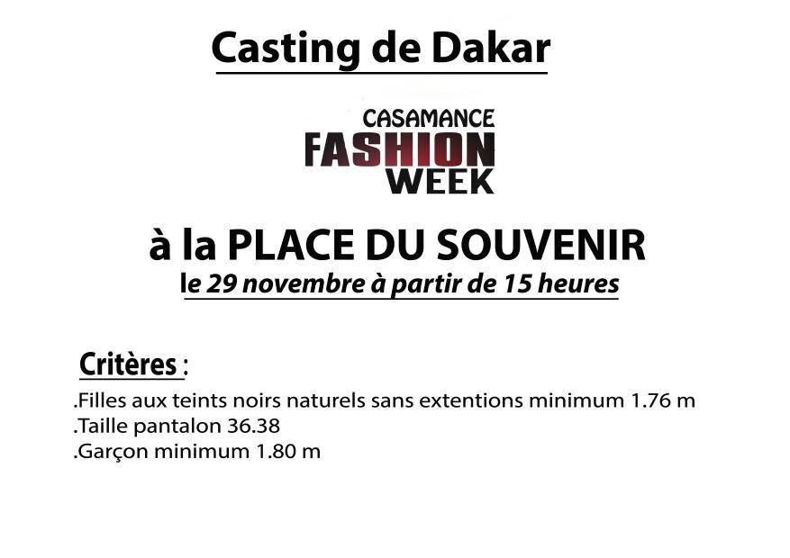 Casamance Fashion Week 2017 Casting Call Fashion Event