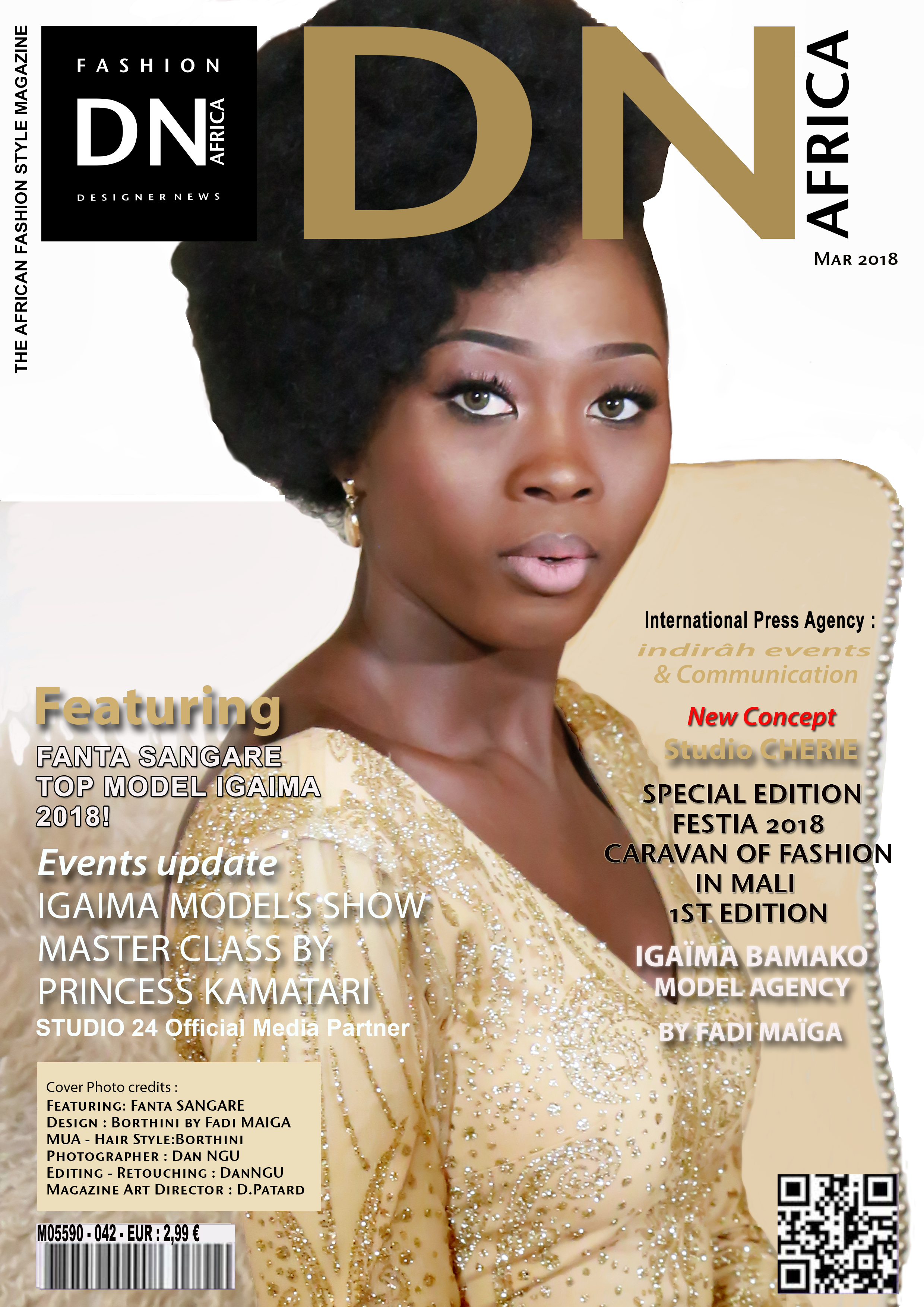 DNAFRICA-Cover-MAR 2018 Mag Number 42 Fanta Sangare - Designer Fadi MAIGA - Media Partner DN MAG, DN AFRICA -STUDIO 24 NIGERIA - STUDIO 24 INTERNATIONAL - DN MAG - Indirâh Events & Communication