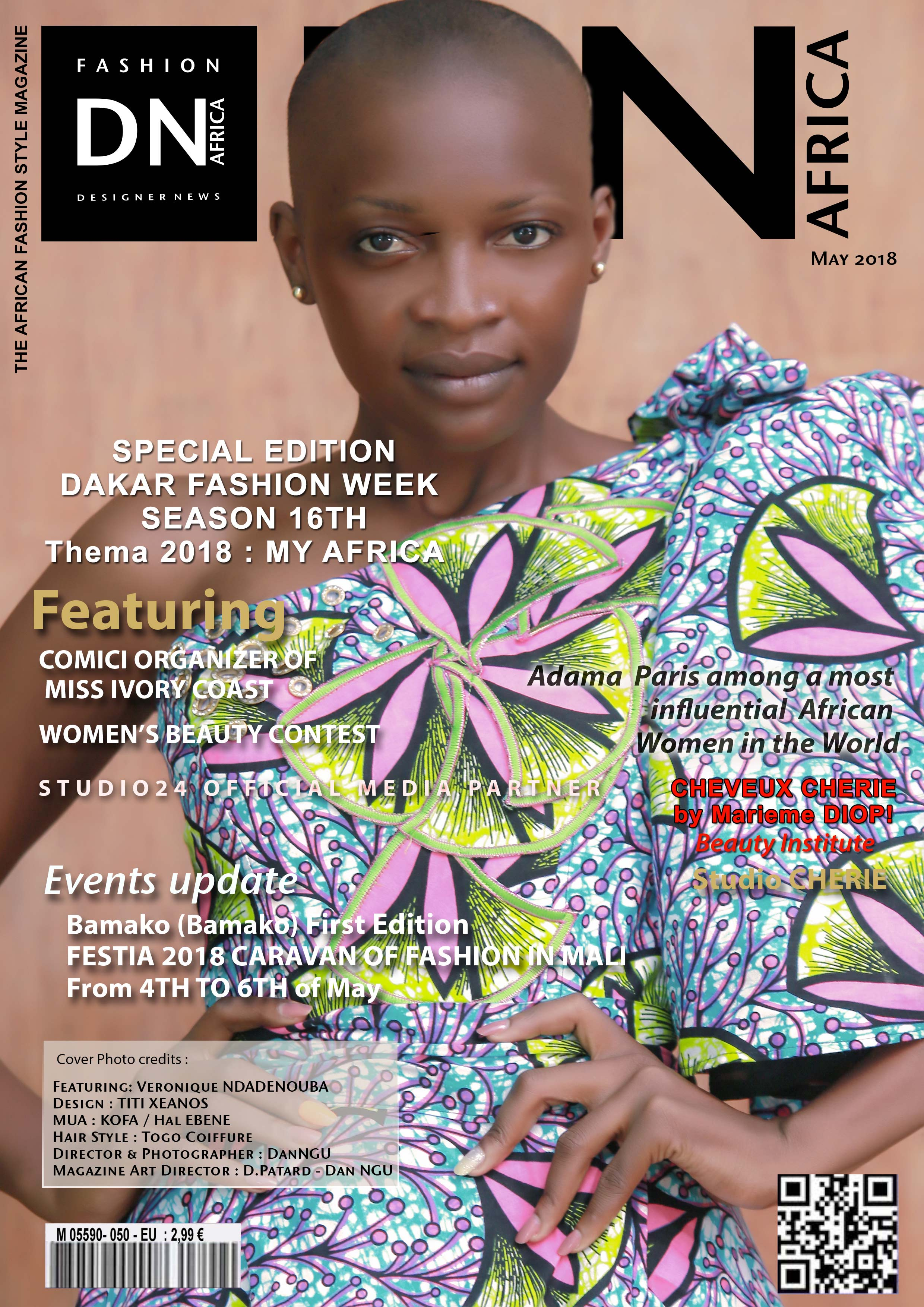 AFRICAN FASHION STYLE MAGAZINE – VÉRONIQUE NDADENOUBA BÉNÉDICTE - MAY 2018 COVER - Media Partner DN MAG, DN AFRICA -STUDIO 24 NIGERIA - STUDIO 24 INTERNATIONAL