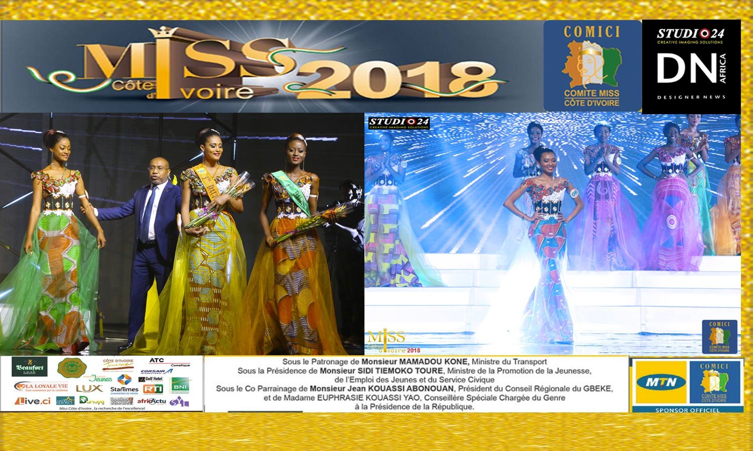 MISS COTE D'IVOIRE 2018 -AFRICAN FASHION STYLE MAGAZINE -MISS IVORY COAST 2018 - MISS MARIE-DANIELLE SUY FATEM - FIRST RUNNER Miss GBATO Jemima - DN AFRICA - STUDIO 24 NIGERIA