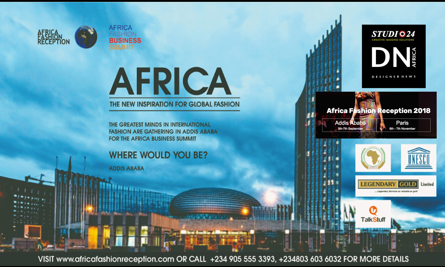 AFRICAN FASHION STYLE MAGAZINE - AFRICAN FASHION RECEPTION 18 4TH EDITION-ADDIS ABEBA - PARIS - LEGENDARY GOLD - LEXY MOJO-EYES - Media Partner DN MAG, DN AFRICA -STUDIO 24 NIGERIA - STUDIO 24 INTERNATIONAL