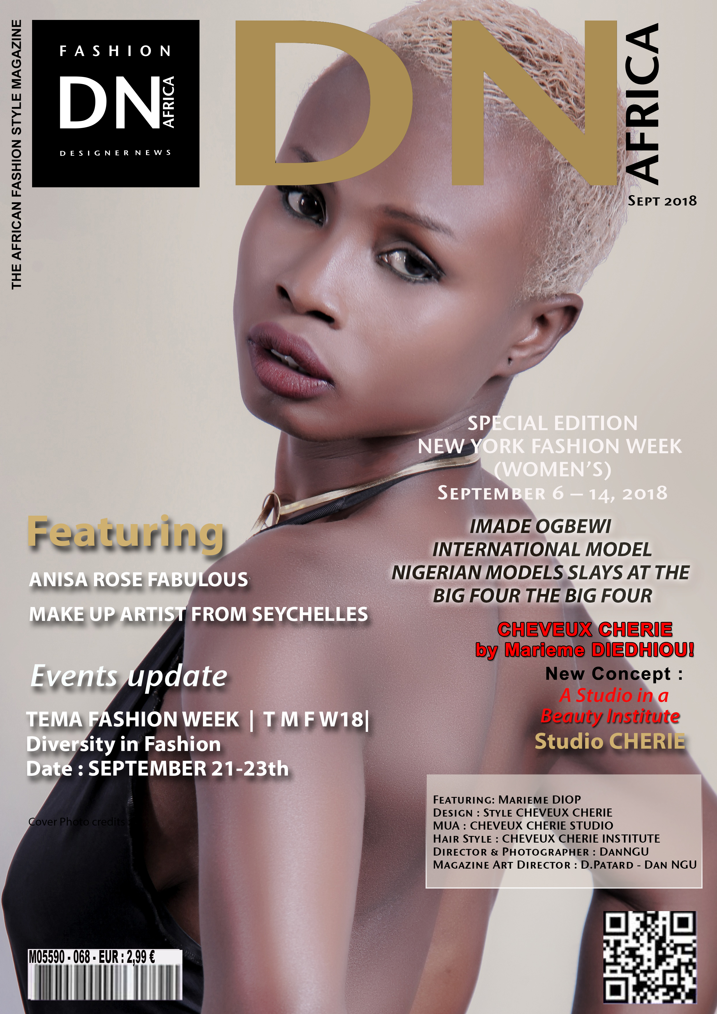 AFRICAN FASHION STYLE MAGAZINE – MARIEME DIOP HAIR STYLE DESIGNER FOR CHEVEUX CHERIE INSTITUTE - SEPTEMBER 2018 COVER - Media Partner DN MAG, DN AFRICA -STUDIO 24 NIGERIA - STUDIO 24 INTERNATIONAL - CHEBVEUX CHERIE STUDIO
