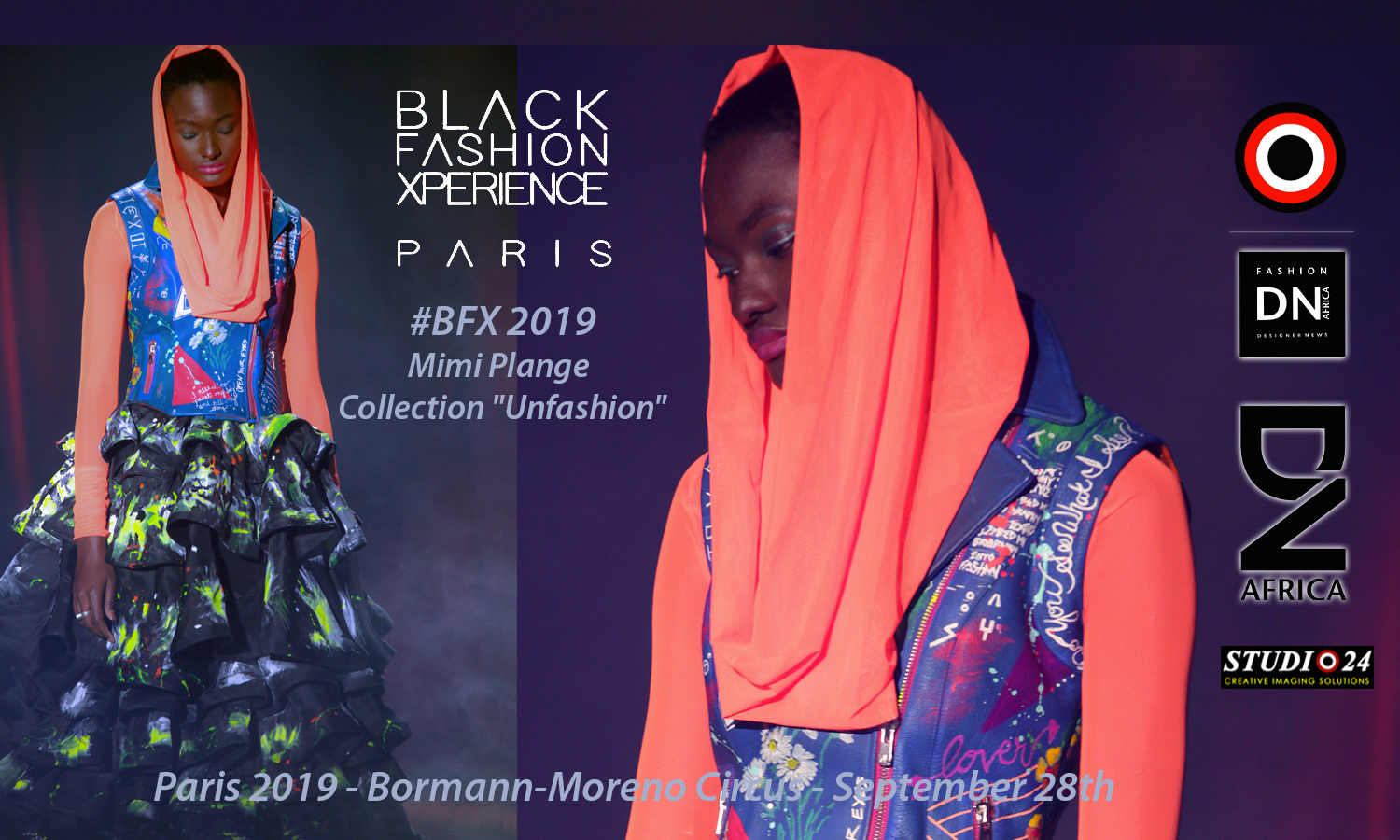 "AFRICAN FASHION STYLE MAGAZINE - Black-Fashion-Xperience-2019-Organizer by Adama-Paris - Designer Mimi Plange - - Collection ""Unfashion"" - PR Indirâh Events and Communication - Photographer DAN NGU - Official Media Partner DN AFRICA - STUDIO 24 NIGERIA - STUDIO 24 INTERNATIONAL - Ifeanyi Christopher Oputa MD AND CEO OF COLVI LIMITED AND STUDIO 24 - CHEVEUX CHERIE and CHEVEUX CHERIE STUDIO BY MARIEME DUBOZ- Fashion Editor Nahomie NOOR COULIBALY"