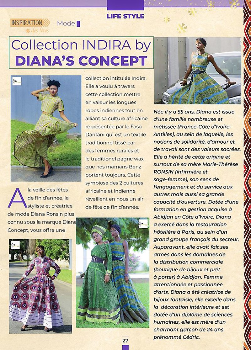 AFRICAN FASHION STYLE MAGAZINE - Designer : Diana Ronsin Creations Collection: Indira Model: Palyn Fantini Model: Nahomie Noor Coulibaly - DIANA'S-CONCEPT-The-Concept-Store-by-Diana-RONSIN-Location-Abidjan-Mall - Photographer DAN NGU - Media Partner DN AFRICA - STUDIO 24 NIGERIA - STUDIO 24 INTERNATIONAL - Ifeanyi Christopher Oputa MD AND CEO OF COLVI LIMITED AND STUDIO 24 - CHEVEUX CHERIE and CHEVEUX CHERIE STUDIO BY MARIEME DUBOZ- Fashion Editor Nahomie NOOR COULIBALY